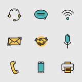 Mobile contact, communication line vector set Stock Image