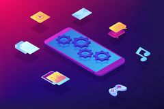 Mobile content isometric 3D concept illustration. royalty free illustration