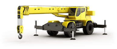 Mobile Crane. 3d rendering of a highly realistic mobile crane Stock Images