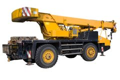 Mobile crane. Mobile crane on a white background, isolated with a clipping path Royalty Free Stock Photo