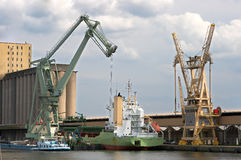 Mobile crane in Antwerp port Stock Image