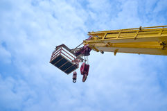Mobile crane. On the blue sky Royalty Free Stock Photos