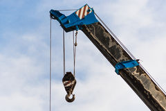 Mobile crane boom with hook Stock Photo