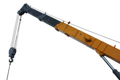 Mobile crane boom. On white Royalty Free Stock Photography