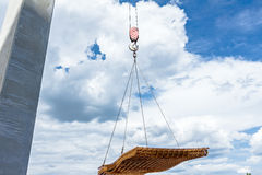 Mobile crane is carry pile of reinforcing mesh for concrete Stock Photography