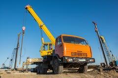 Mobile crane at construction site Stock Photo