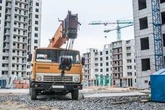 Mobile crane at construction site Royalty Free Stock Photos