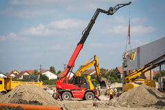 Mobile crane. On the constuction site Royalty Free Stock Image