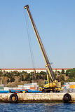Mobile crane in dock Royalty Free Stock Images