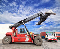 Mobile crane in harbour shipping yard Stock Photography