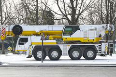 Mobile crane. For heavy weight lift truck Stock Images