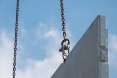 Mobile crane lift up precast concrete wall in construction new house stock photos