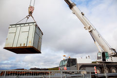 Mobile crane makes emergency operation on a motorway Stock Images