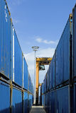 Mobile Crane Moving Containers In Stockyard Stock Image