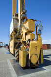 Mobile Crane Moving Containers In Stockyard Stock Images