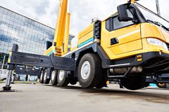 Mobile crane off-road capability. In exhibition royalty free stock photos