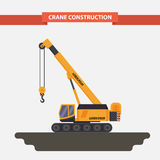 Mobile crane, tractor. flat,  background Royalty Free Stock Photos