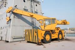 Mobile crane truck. On Chakri Naruebet flagship at Sattahip port Royalty Free Stock Photos