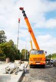Mobile crane truck stock image