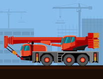 Mobile crane truck. Crane mounted on truck with construction background. Side view mobile crane vector illustration Stock Image
