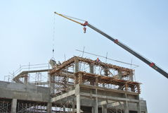 Mobile crane used to lifting heavy material at construction site Stock Photography