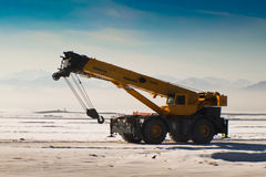 Mobile Crane in winter Stock Images