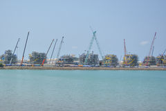 Mobile  cranes are construction Royalty Free Stock Photos