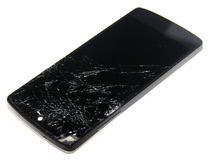 Mobile with crashed screen Stock Image