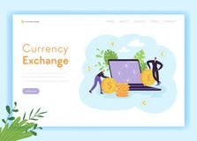 Mobile Currency Exchange Landing Page Template. Online Banking Concept with Characters and Money for Web Page and Mobile stock illustration