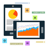 Mobile data charts and statistics. Illustration design Stock Photography