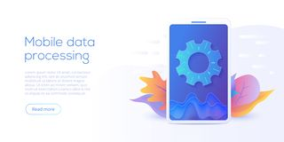Mobile data processing technology in isometric vector illustration. Information storage and analysis system. Digital technology w. Ebsite landing page template stock illustration