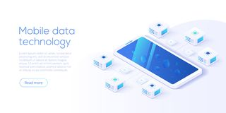 Mobile data processing technology in isometric vector illustration. Information storage and analysis system. Digital technology w vector illustration