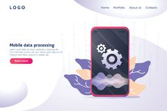 Mobile data processing technology in isometric vector illustration. Information storage and analysis system. Digital web stock illustration