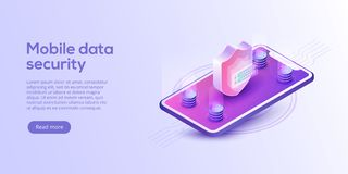 Mobile data security isometric vector illustration. Online payment protection system concept with smartphone and credit card. Sec. Ure bank transaction with royalty free illustration