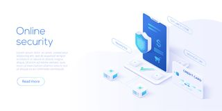 Mobile data security isometric vector illustration. Online payment protection system concept with smartphone and credit card. Sec stock illustration