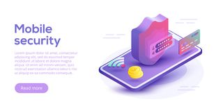 Mobile data security isometric vector illustration. Online payment protection system concept with smartphone and credit card. Sec. Ure bank transaction with vector illustration