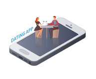 Mobile Dating app concept. Young couple, man and woman on a date on the smartphone screen. Vector illustration, isolated Stock Image