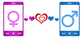 Mobile Dating Pink Blue Royalty Free Stock Image