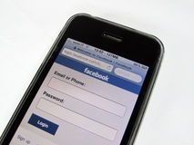 Mobile de Facebook Photo libre de droits