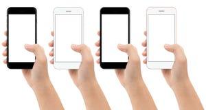 Mobile de téléphone de participation de main d'isolement sur le fond blanc Images libres de droits