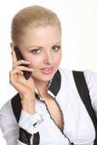 Mobile della holding della donna Fotografie Stock