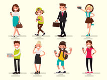Mobile dependence. People with their gadgets. Vector illustratio. N in a flat style Stock Photography