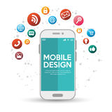 Mobile design with various application. Illustration eps 10 Stock Photography