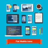 Mobile development flat icons set. Laptop, tablet Royalty Free Stock Photo