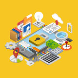 Mobile development icons set Stock Photos