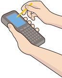 Mobile device. Vectore illustration of a handheld mobile device Stock Image