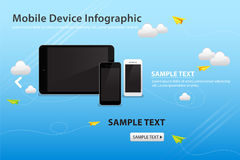 Mobile and Device on Blue Sky Color Background with Paper Plane Royalty Free Stock Images