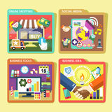 Mobile device and business  icons set in flat design Royalty Free Stock Images