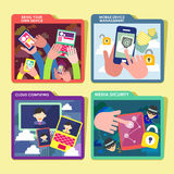 Mobile device concept icons set in flat design. Flat design of mobile device, management, cloud computing and security icons set Stock Image