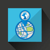 Mobile device globe gps map Stock Images